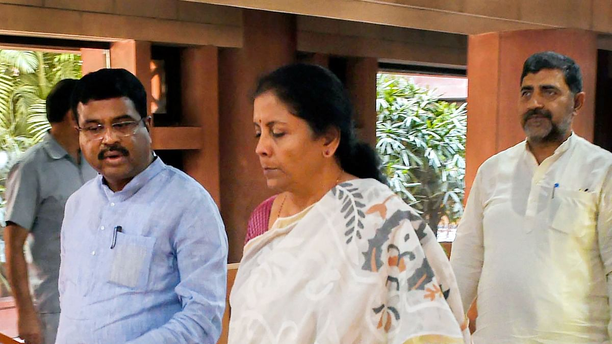 Finance Minister Nirmala Sitharaman and Minister of Petroleum, Natural Gas and Steel Dharmendra Pradhan in New Delhi, Sunday, June 16, 2019.