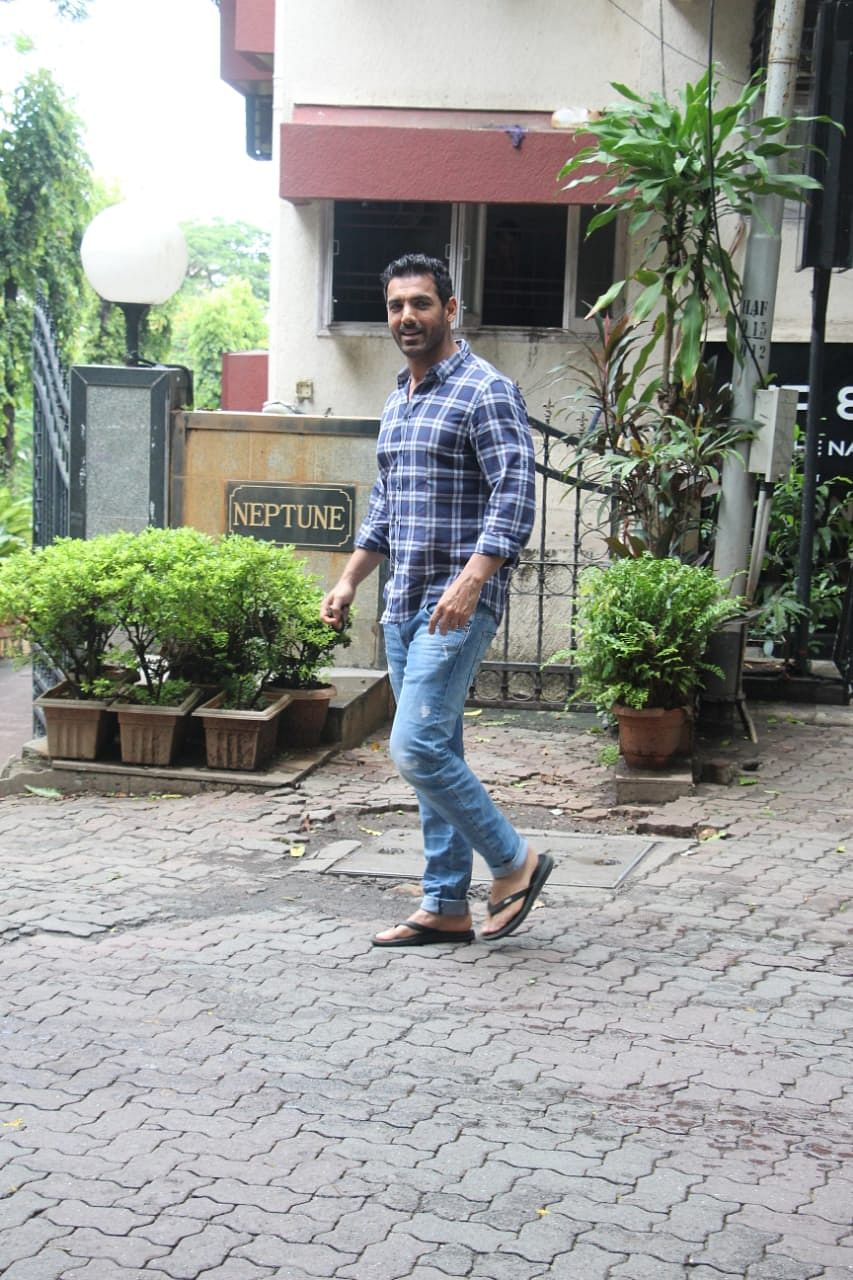 John Abraham was spotted at Tip n Toe in Pali hill in Bandra.