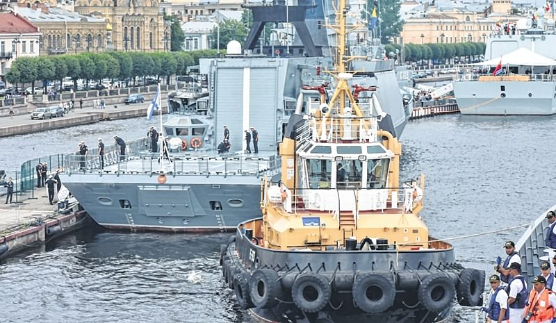 To boost ties, INS Tarkash is at St Petersburg, Russia