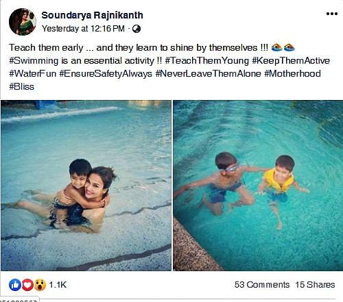 Soundarya Rajinikanth trolled over swimming pool picture during Chennai water crisis