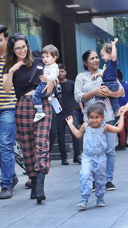 Sunny Leone with her kids in Juhu.