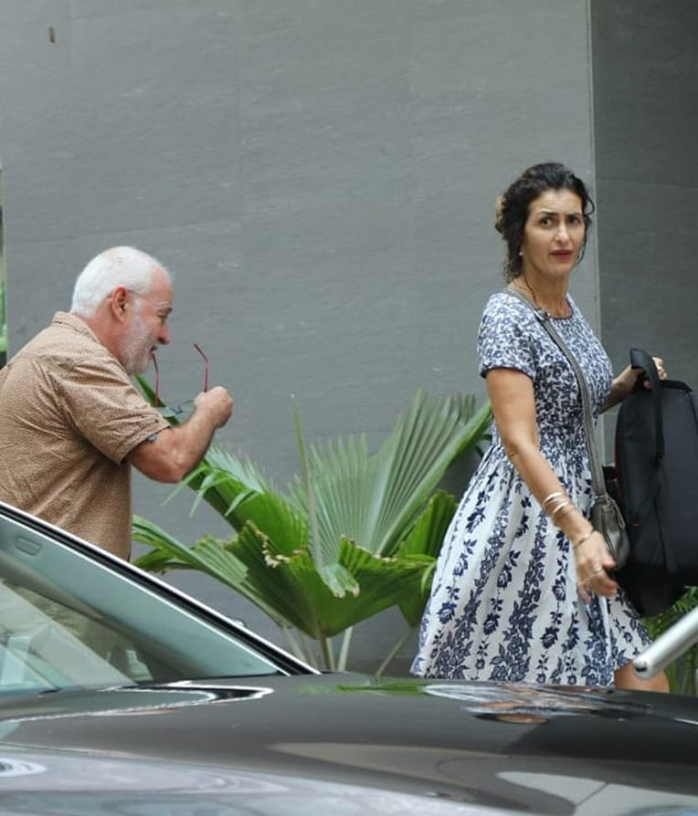 Gabriella Demetriades' mother and father arrived at Hinduja Hospital to meet new baby boy.