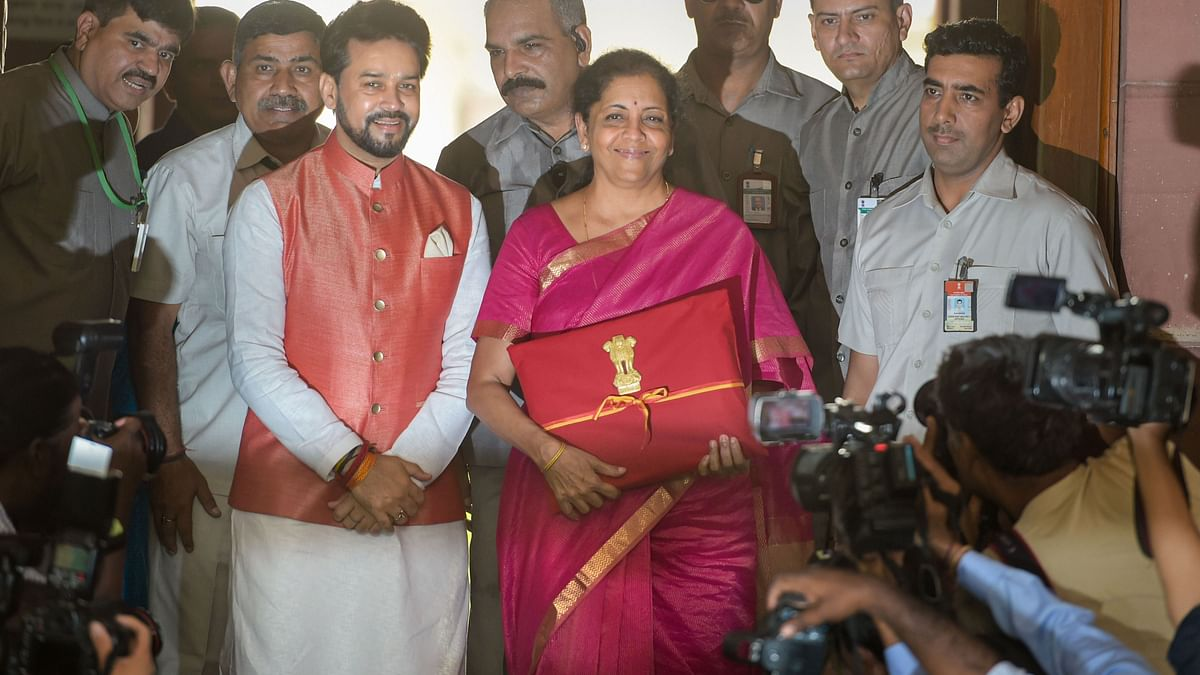 Finance Minister Nirmala Sitharaman with MoS Anurag Thakur arrive at Parliament to present the Union Budget 2019-20 in the Lok Sabha, in New Delhi, Friday, July 05, 2019