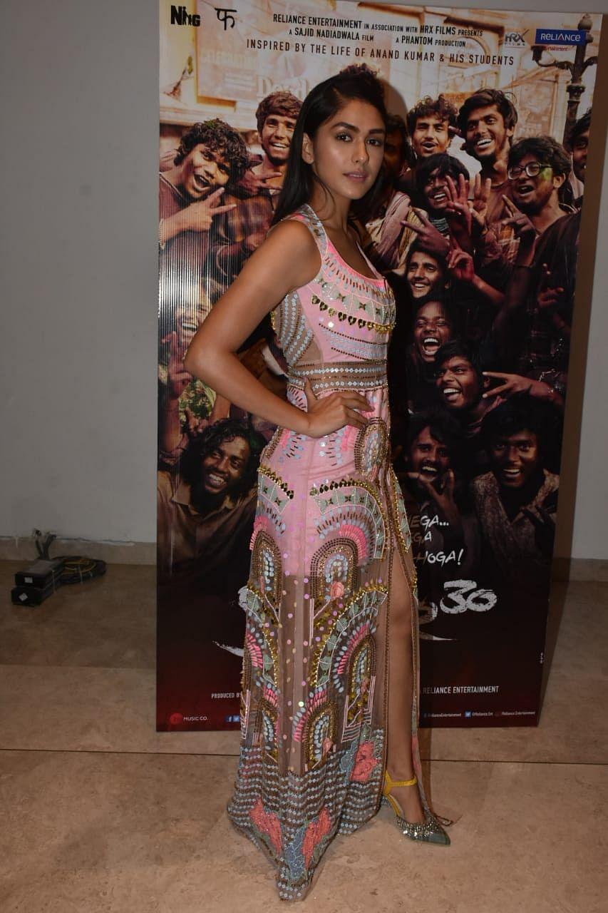 'Super 30' actress Mrunal Thakur snapped at promotion in Mumbai.