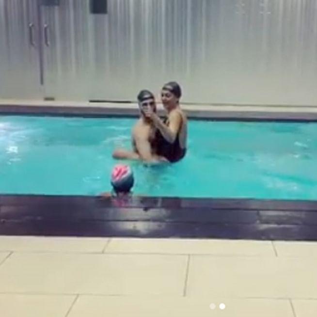 Watch Sushmita Sen's daughter teach her how to swim like a mermaid