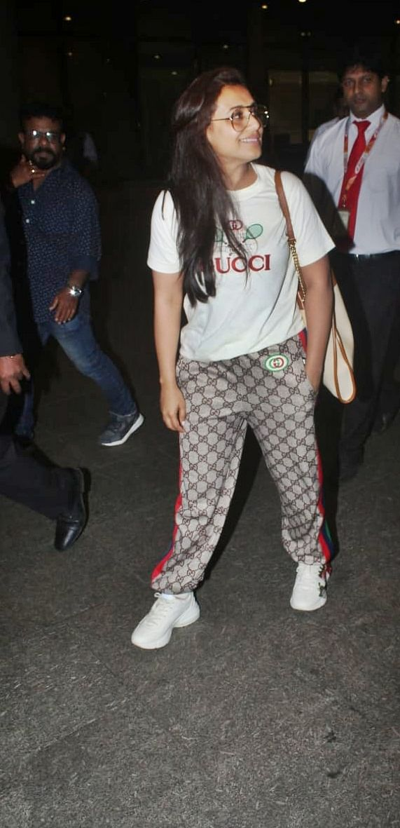 Rani Mukerji sporting in all Gucci at Mumbai airport.