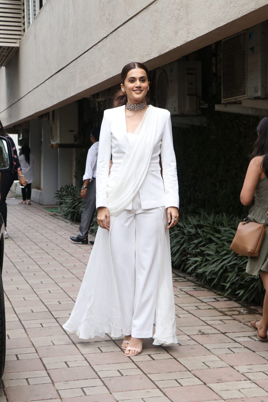 Taapsee Pannu at Mission Mangal's trailer launch at Fun Republic in Andheri.