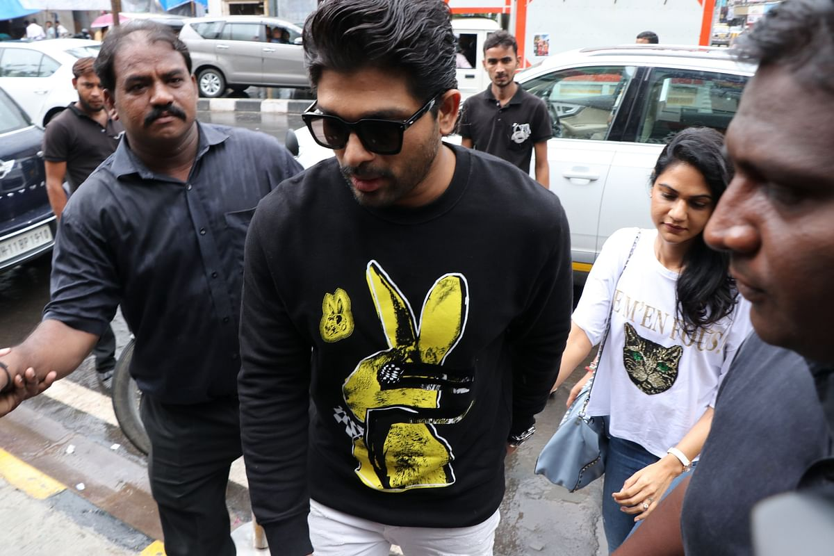 Allu Arjun spotted in the city with wife