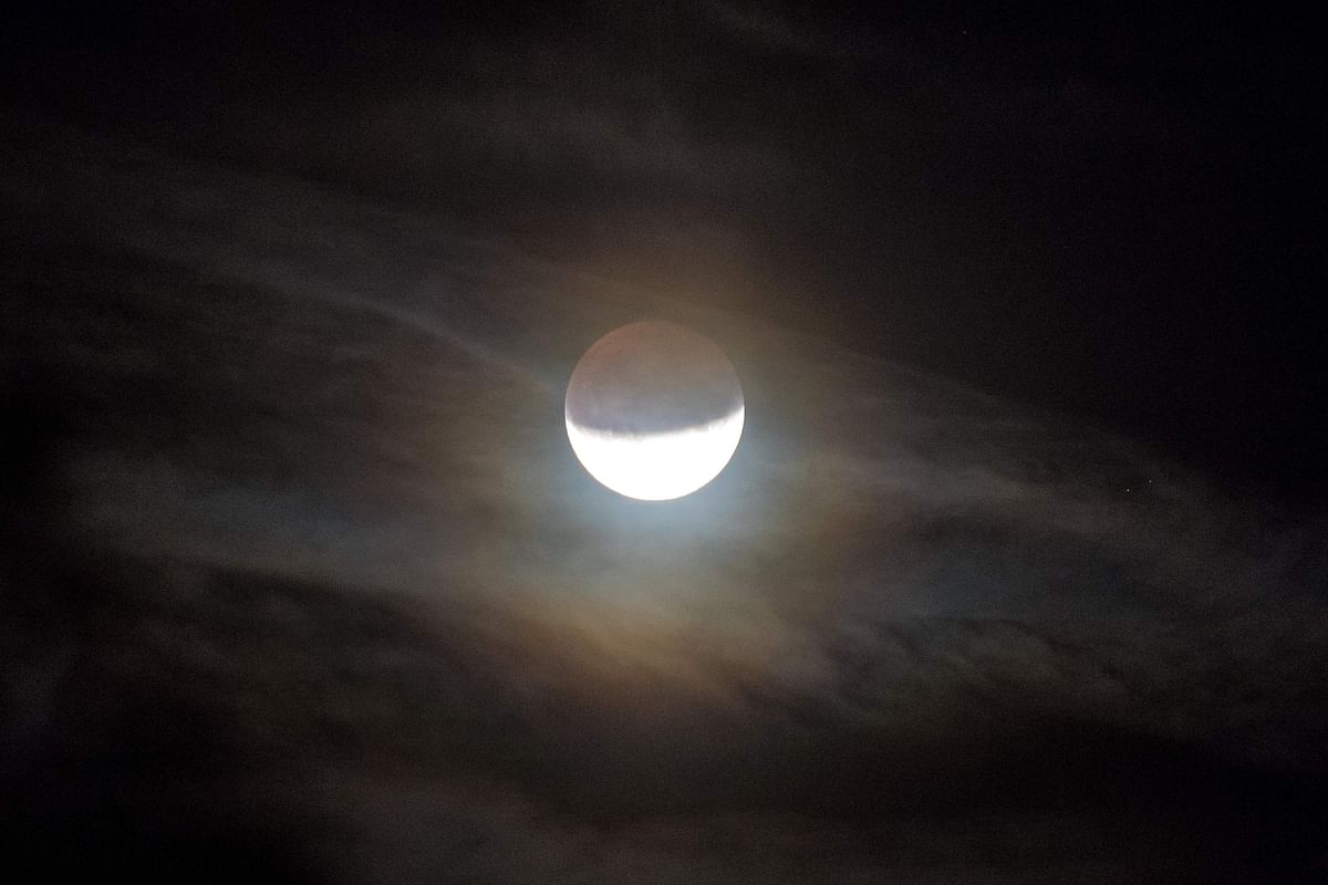 The moon is seen during a partial lunar eclipse in Lavau-sur-Loire, western France, on July 16, 2019.