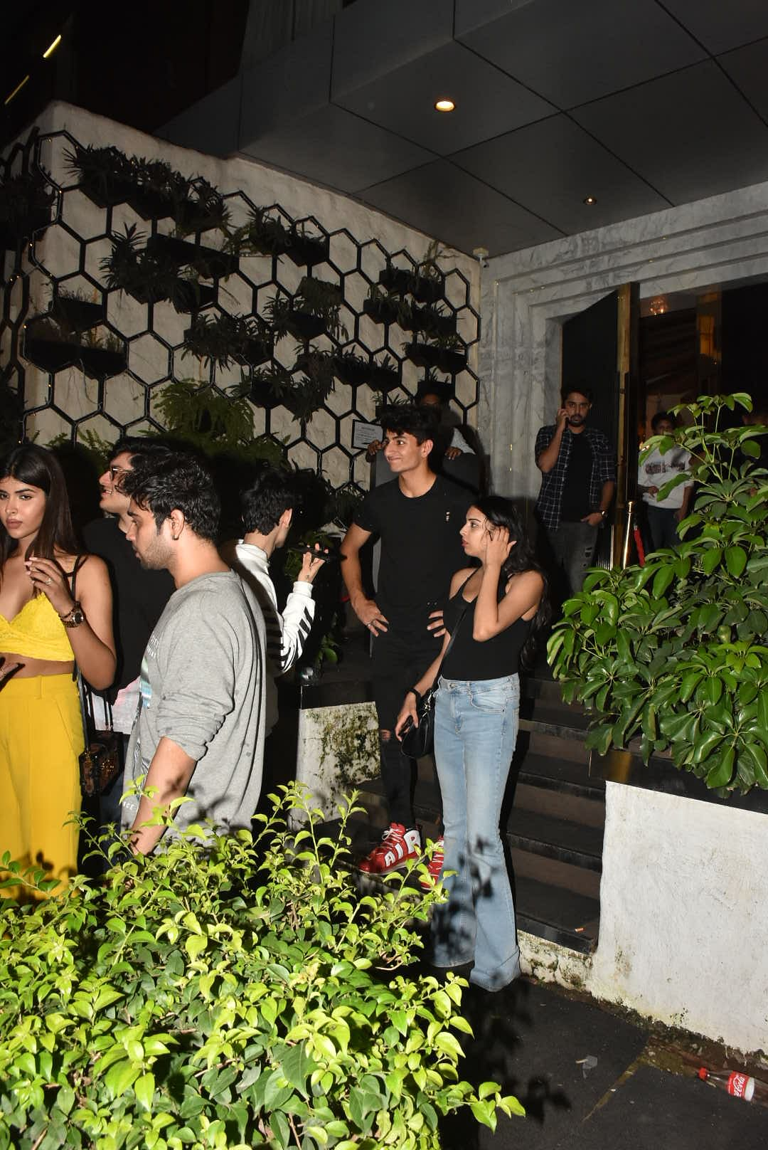 Ibrahim Ali Khan with his Friends clicked at Arth in Khar.