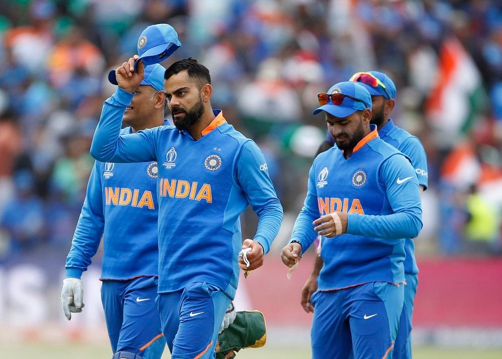Indian squad after winning the match against Bangladesh in ICC CWC 2019 at Edgbaston in Birmingham on Tuesday