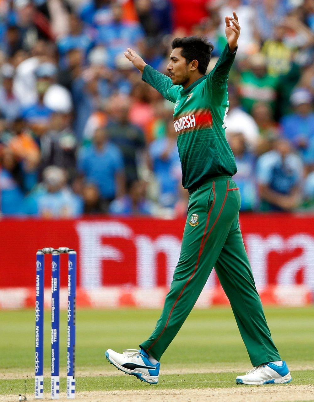 Bangladesh's Soumya Sarkar celebrates the dismissal of Rohit Sharma during a match against India in ICC CWC 2019 at Edgbaston in Birmingham on Tuesday