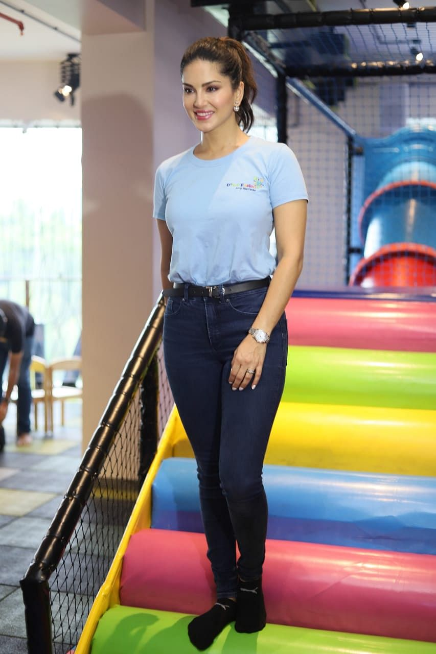 Sunny Leone at her Playschool opening today