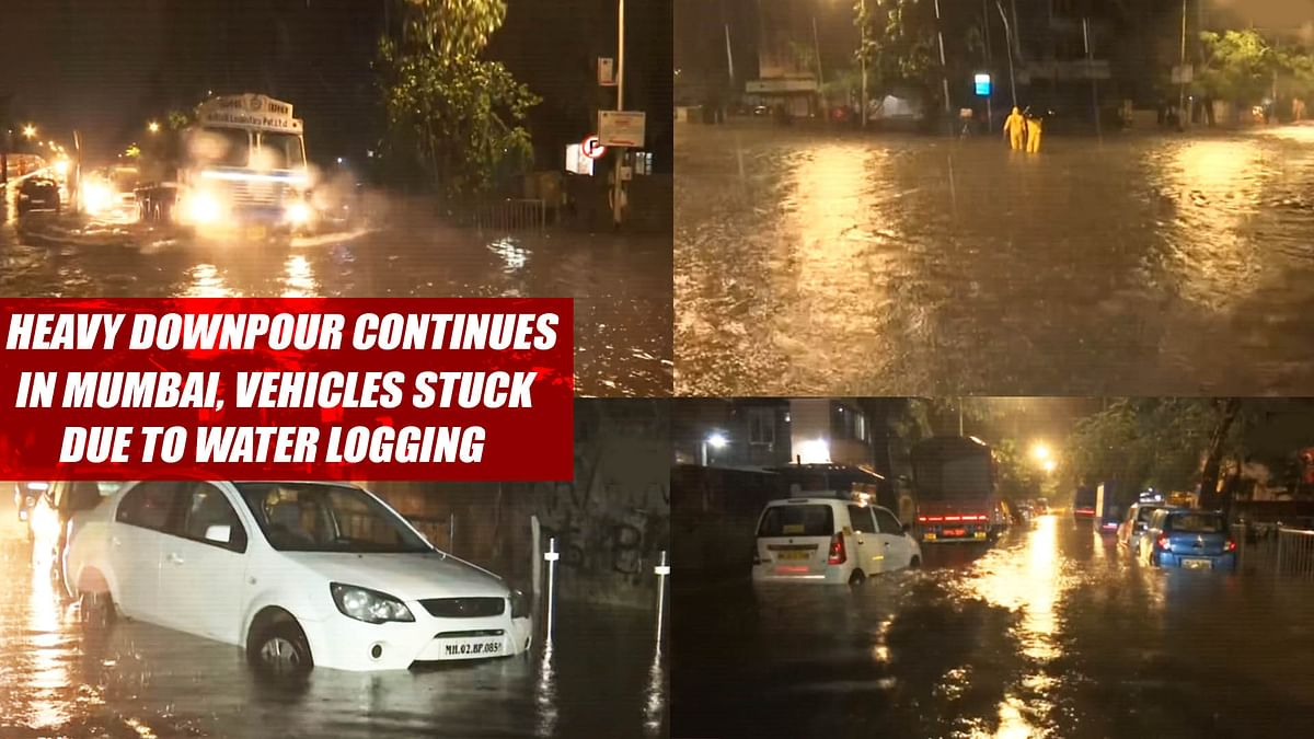 Heavy Rain Downpour Continues In Mumbai, Vehicles Stuck Due To Water Logging