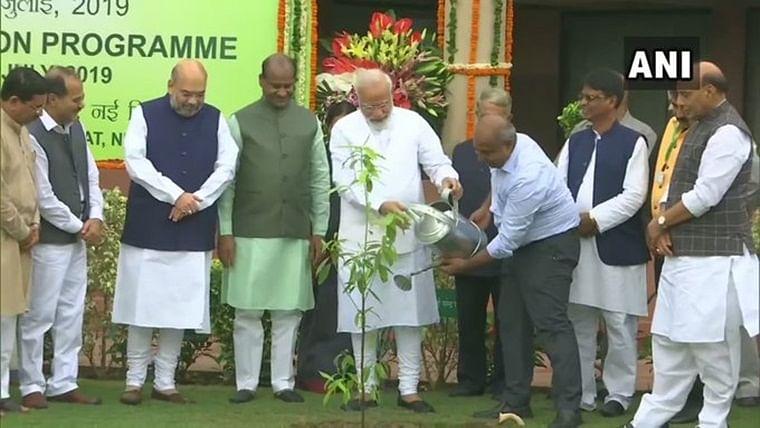 PM Narendra Modi plants saplings in Parliament as part of plantation drive