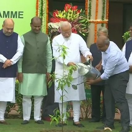 PM Narendra Modi plants saplings in Parliament as part of plantation drive