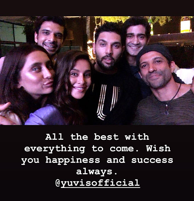 Yuvraj Singh enjoys retirement bash with wife Hazel Keech and ex-girlfriend Kim Sharma; other B-town celebs also joins
