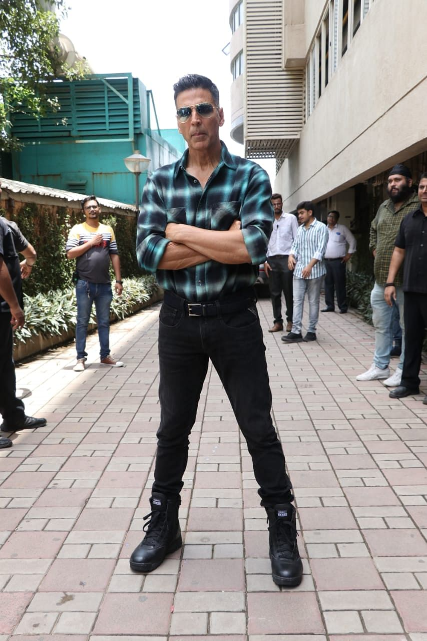 Akshay Kumar at his most awaited film Mission Mangal's trailer launch at Fun Republic in Andheri.