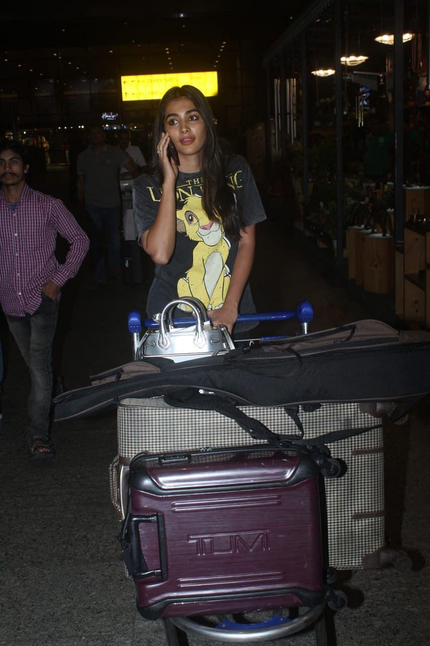 Pooja Hegde snapped at Mumbai airport today.