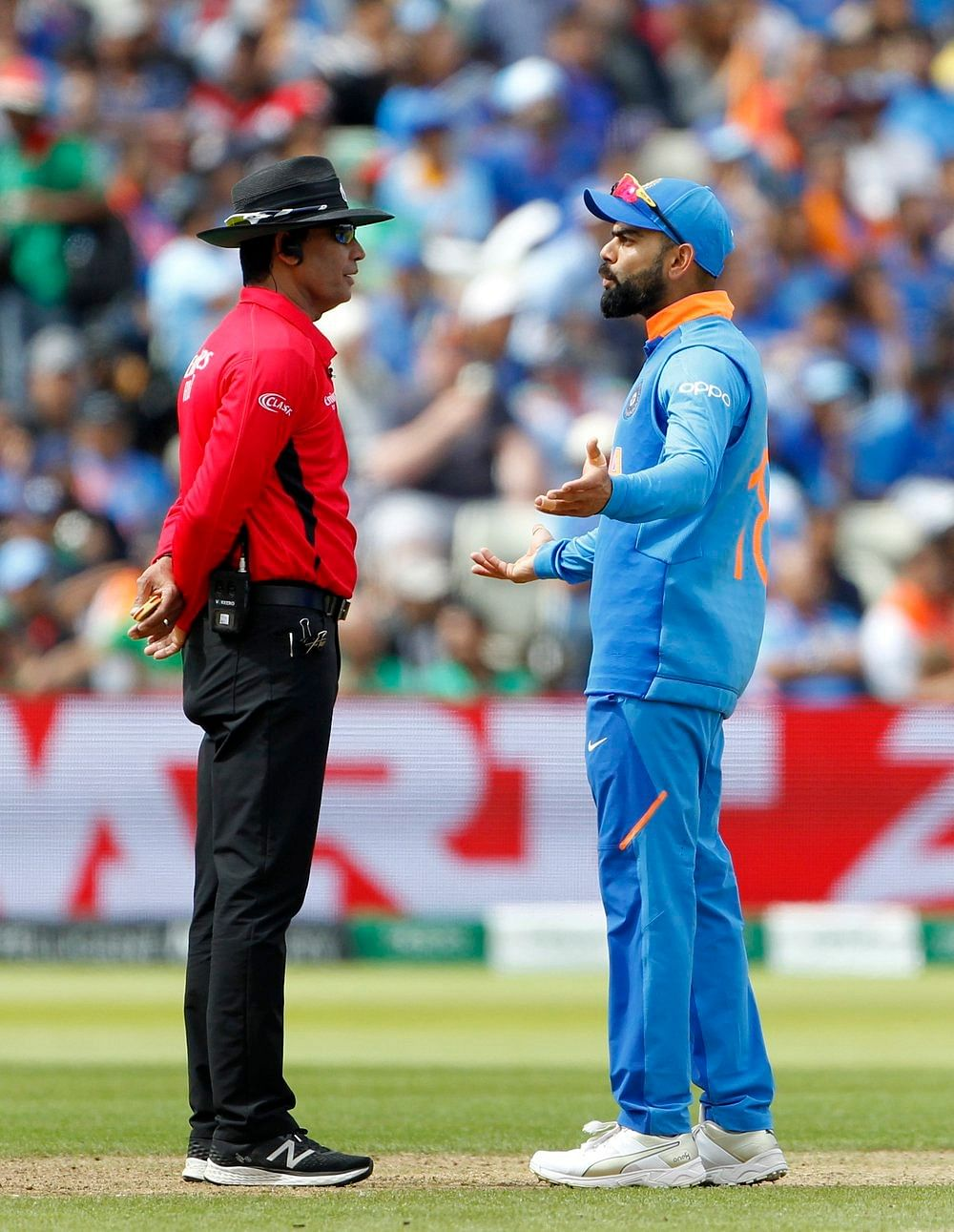 Indian captain Virat Kohli in conversation with the Umpire during a match between India and Bangladesh in ICC CWC 2019 at Edgbaston in Birmingham on Tuesday