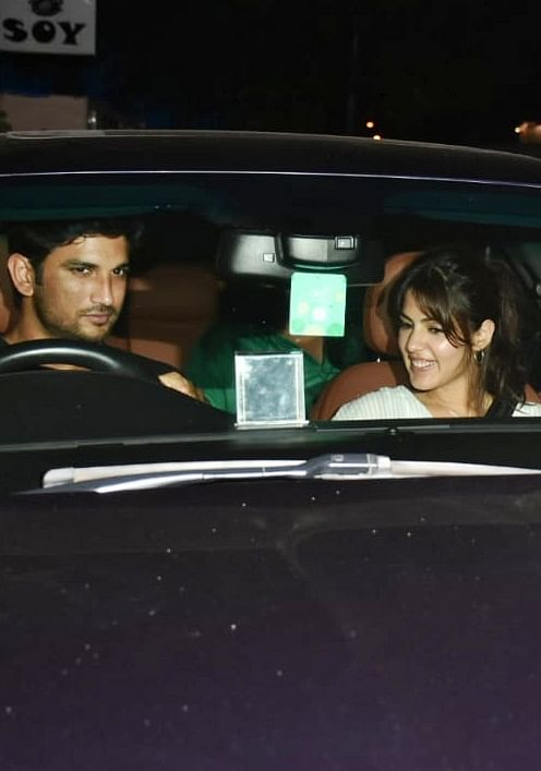 Rumoured couple Sushant Singh Rajput and Rhea Chakraborthy were caught by shutterbugs outside 'The Boston Butt' in Bandra.