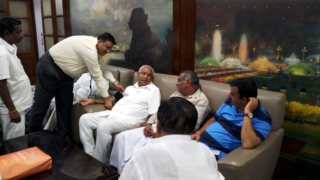 Karnataka BJP legislators stage protest sleep in Assembly