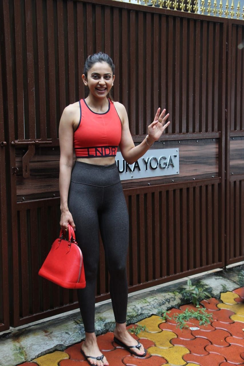 Rakul Preet Singh Snapped after Yoga Session in Bandra