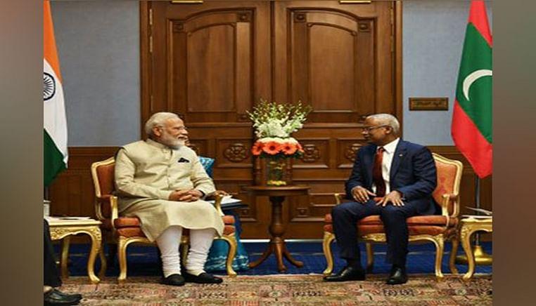 Prime Minister Narendra Modi with Maldives President Ibrahim Mohamed Solih in Male on June 8
