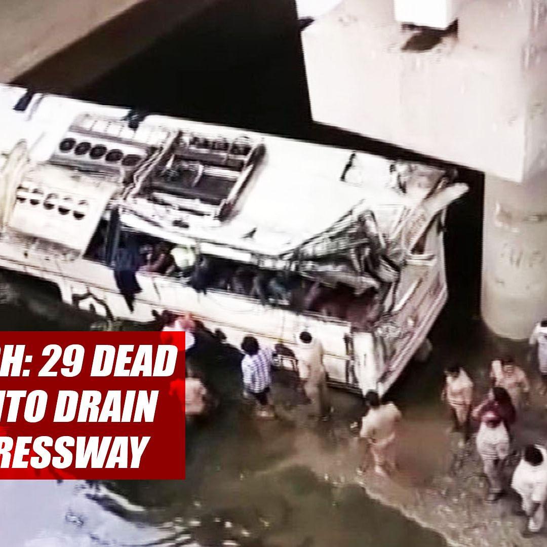 Uttar Pradesh: 29 Dead As Bus Falls Into Drain On Yamuna Expressway