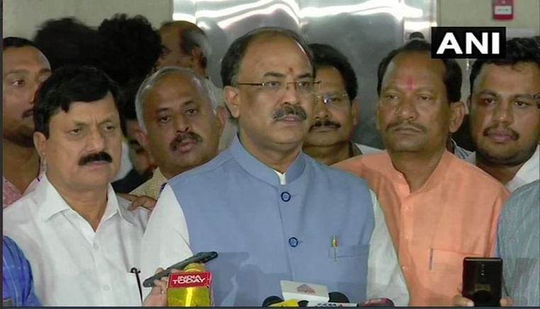 BJP MLA Arvind Limbavali speaking to reporters