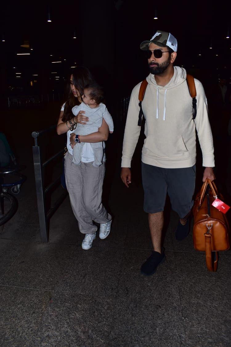 Rohit Sharma with wife Ritika Sajdeh Sharma and baby Samaira