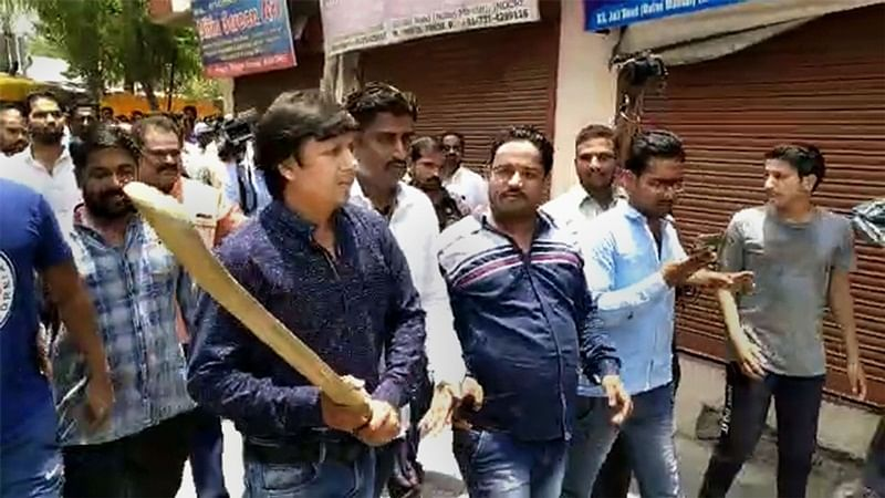 BJP MLA Akash Vijayvargiya with Bat in hand