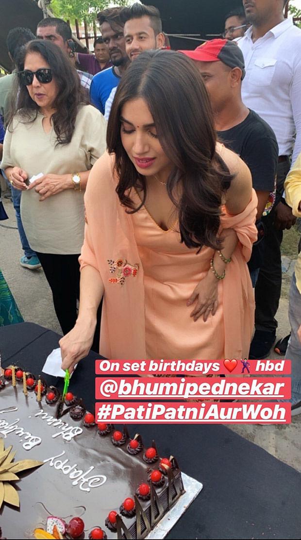 Bhumi Pednekar celebrates her birthday on sets of 'Pati Patni Aur Woh' with Kartik Aaryan, Ananya Panday