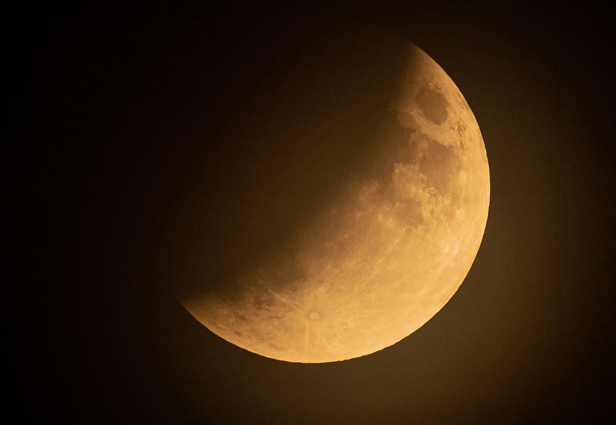 The moon is seen during a partial lunar eclipse in Baden-Baden, Germany, on July 16, 2019.