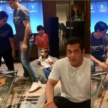 Salman Khan's nephews Ahil and Yohan recreate the bean bag moment