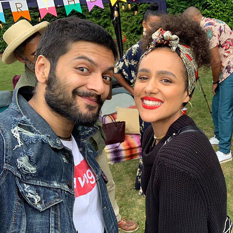 Ali Fazal poses with Fast And Furious 7 co-star Nathalie Emmanuel