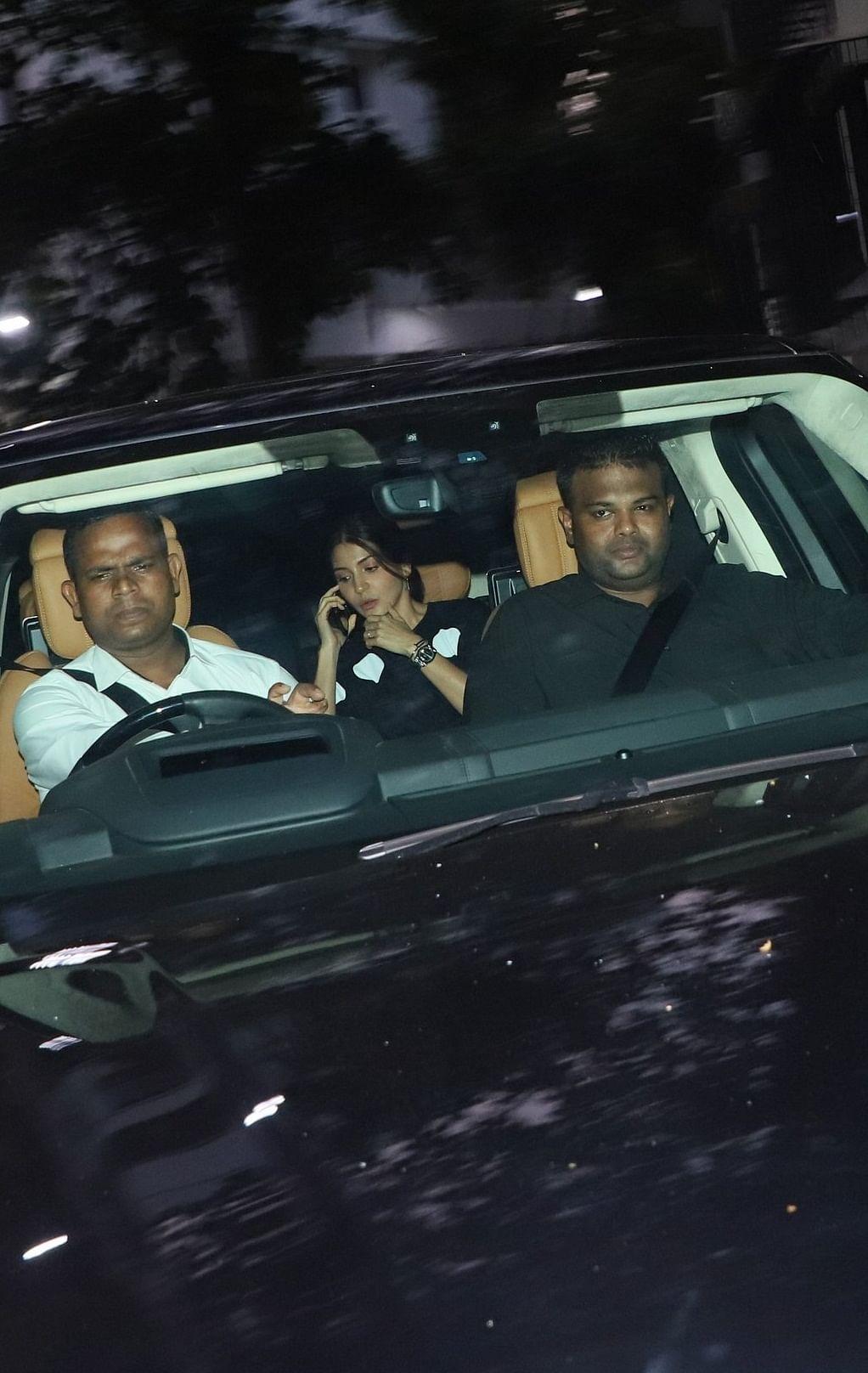 Anushka Sharma was snapped as she was stepping in car outside the residence of Shabana Azmi in Mumbai.