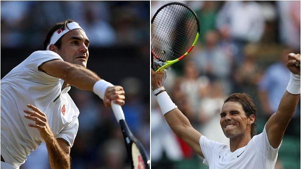 Roger Federer (L) and Rafael Nadal (R)