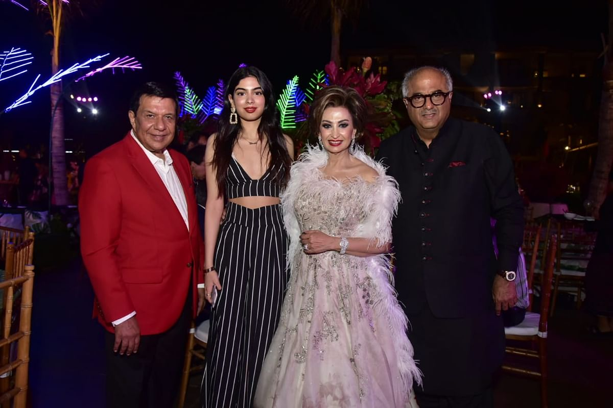 Boney Kapoor and his daughter Khushi Kapoor and Sacred Games fame Kubra Sait snapped at family friend's wedding in Bali.