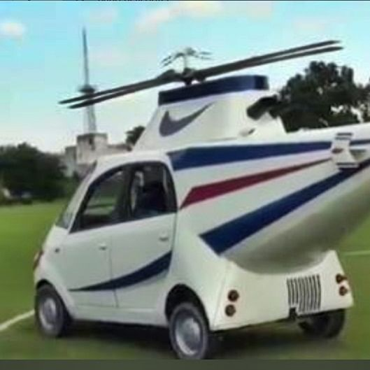 Failed to become a pilot, man turns Tata Nano car into Helicopter using these 4 items