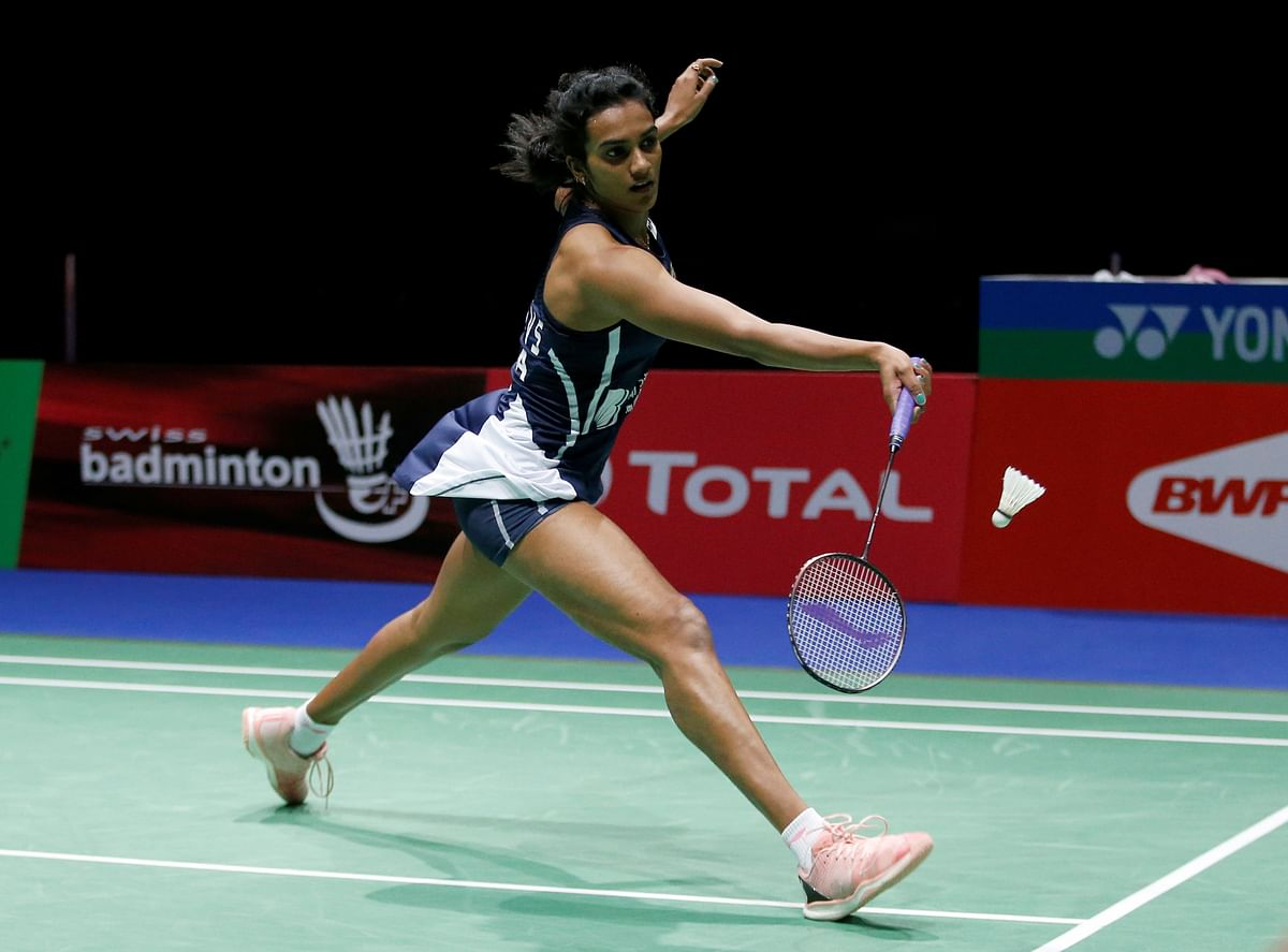 India's Pusarla Sindhu in action during her semi final women's singles match against China's Chen Yu Fei during 2019 Badminton World Championships at St. Jakobshalle Basel in Basel