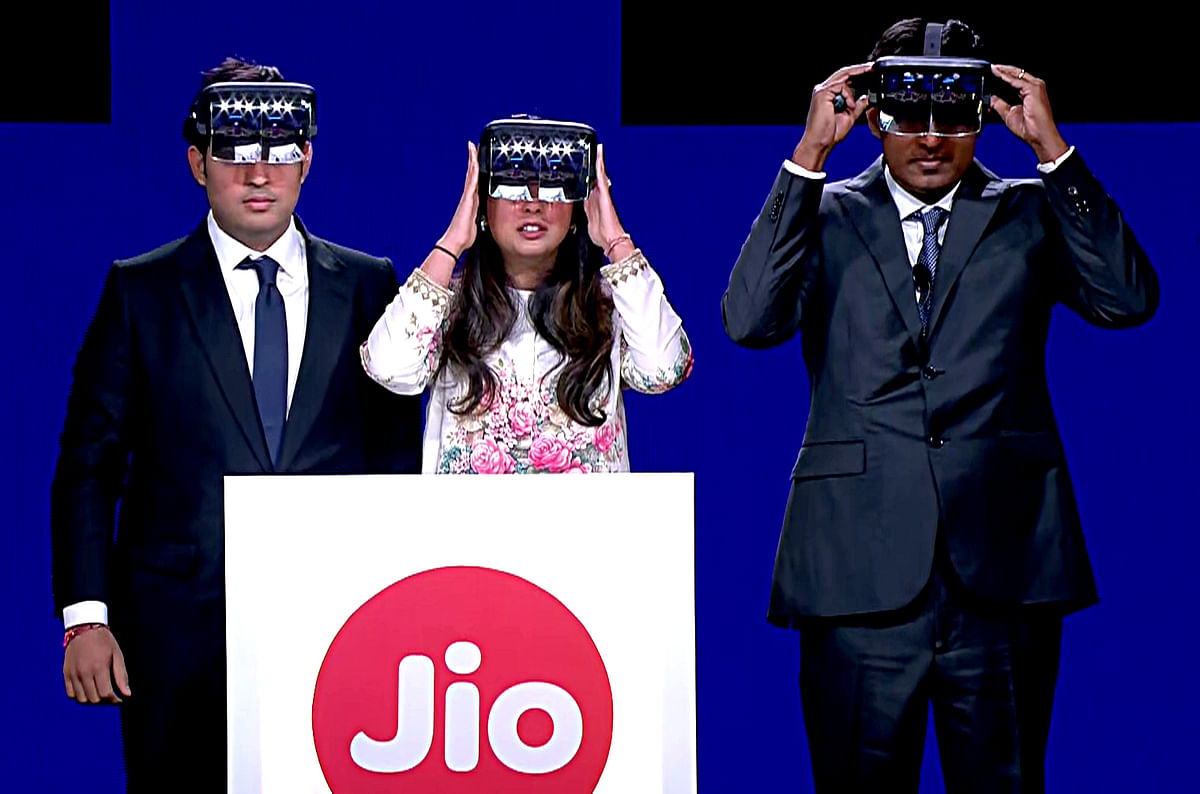 Chairman and MD of Reliance Industries Mukesh Ambani's son and daughter Akash Ambani and Isha Ambani Piramal during the 42nd Annual General Meeting in Mumbai