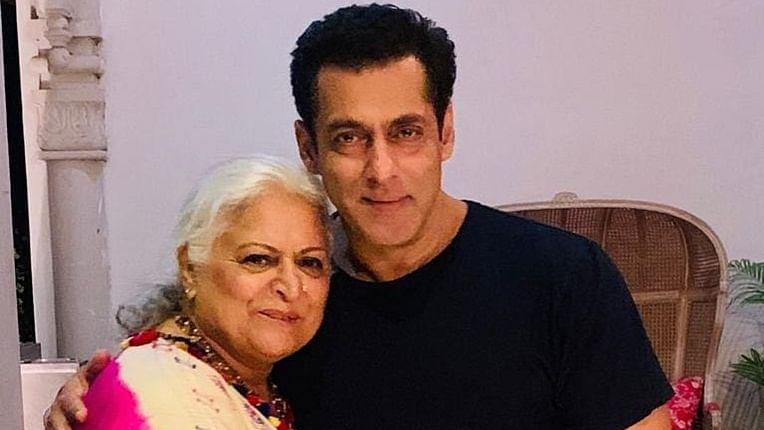 Salman Khan celebrates Raksha Bandhan with Bina Kak on sets of 'Dabangg 3'