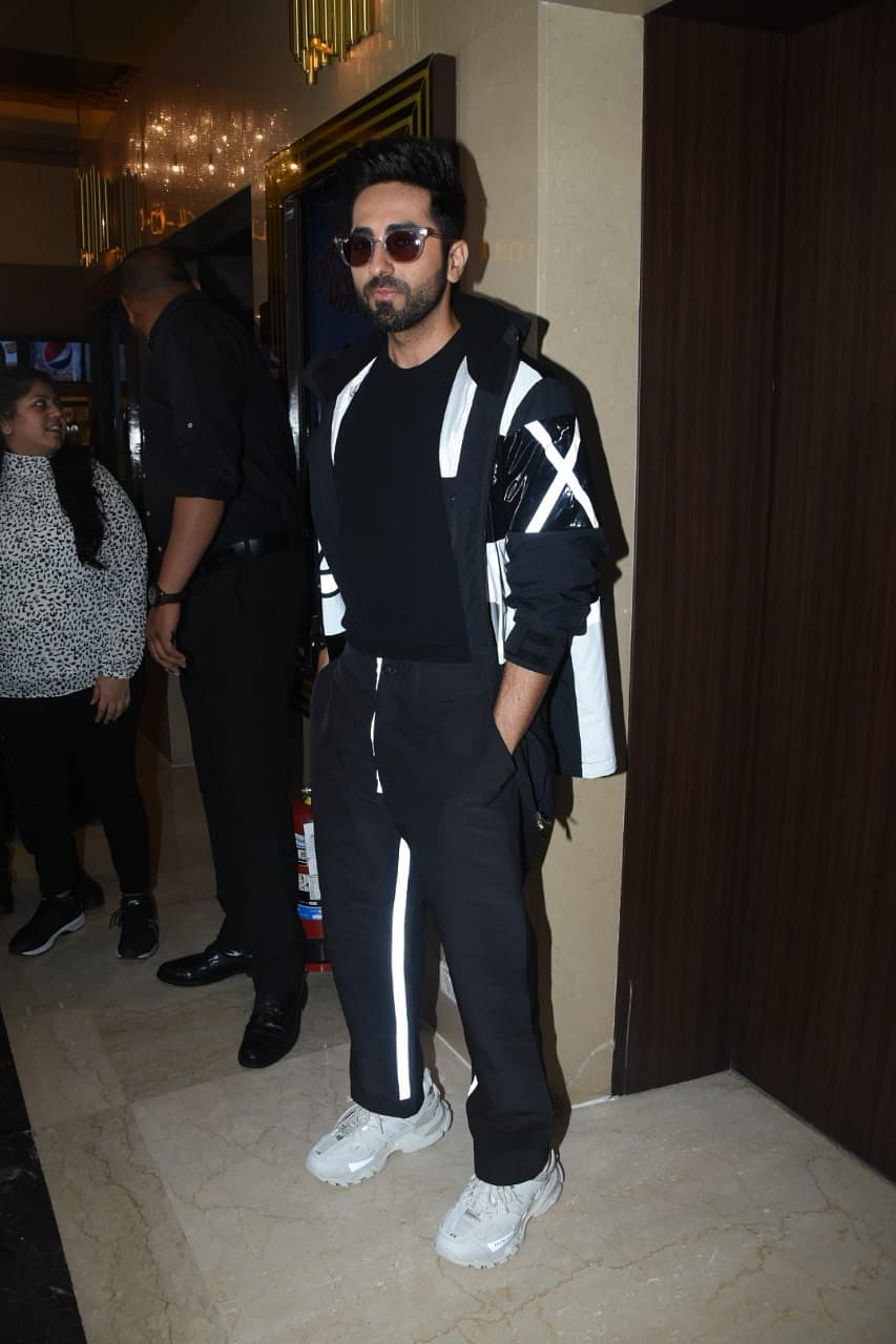 Ayuhsmann Khurrana was snapped in Black and White at the trailer launch of his upcoming film 'Dream Girl'.