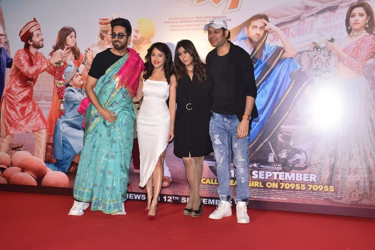 The cast and crew of Dream Girl at the Trailer Launch on Monday. Ayushmann donned a blue and pink saree for the event for the film's promotion.