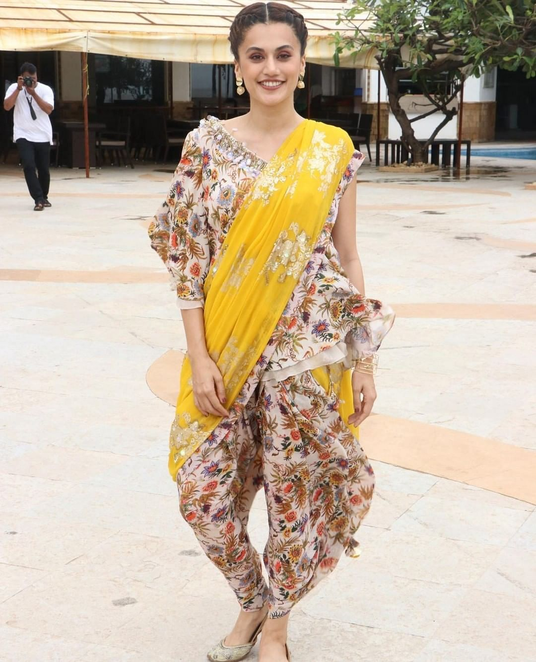 Get Taapsee Pannu's quirky yellow dhoti saree for Rs 43K