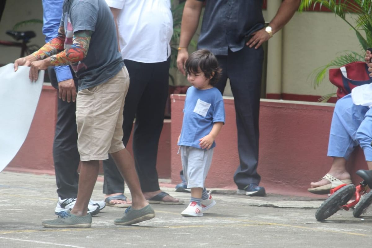 Kareena's munchkin Taimur who recently came back from London vacation was snapped by paps today in Bandra.