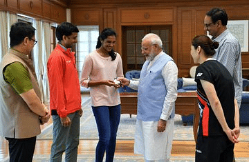 PM Narendra Modi: India's pride, a champion who has brought home a Gold and lots of glory. Happy to have met PV Sindhu. Congratulated her and wished her the very best for her future endeavours.