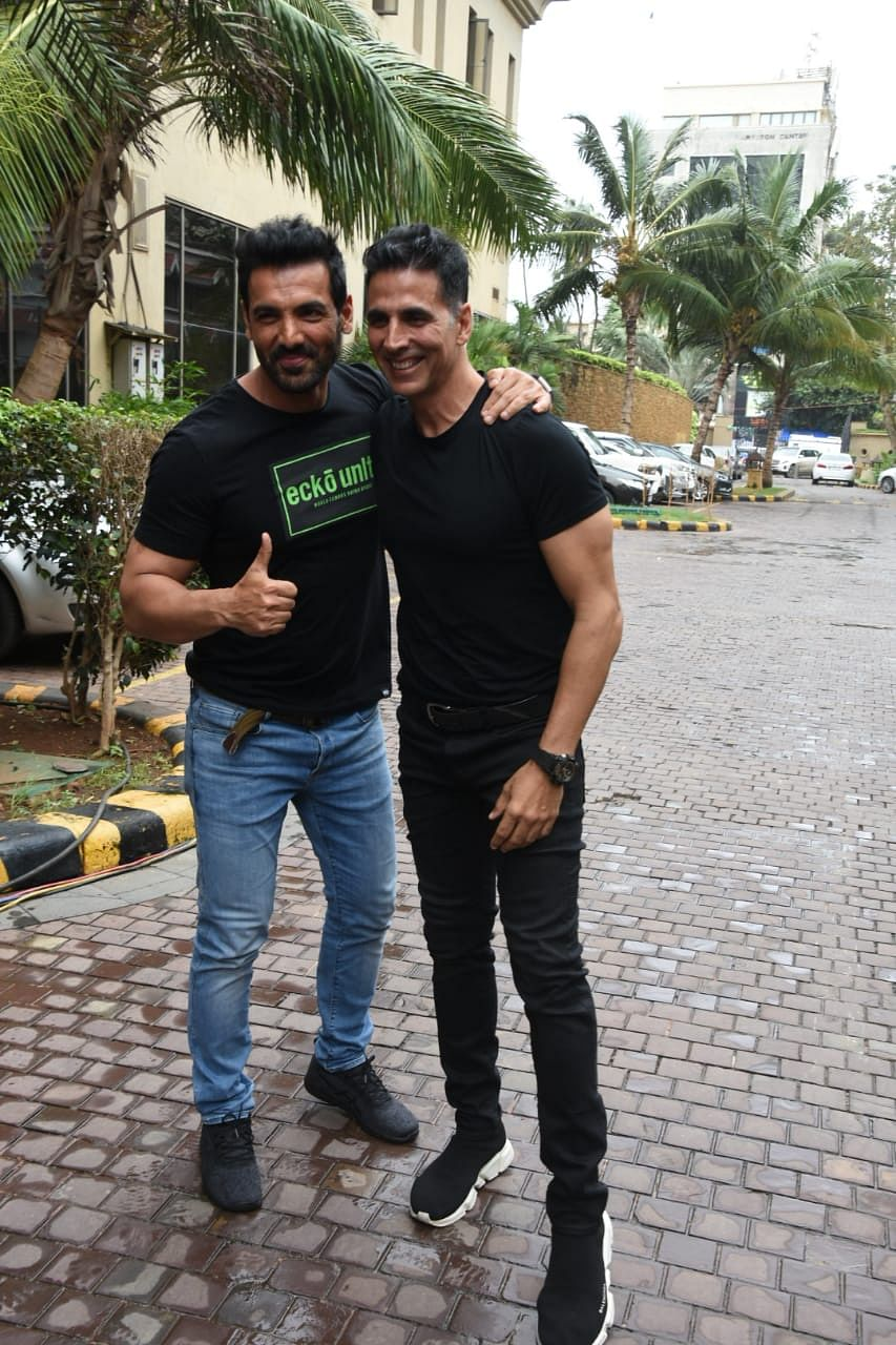 John Abraham snap 'Batla House' promotions and Akshay Kumar snap 'Mission Mangal' movie promotions at  JW Marriot Juhu