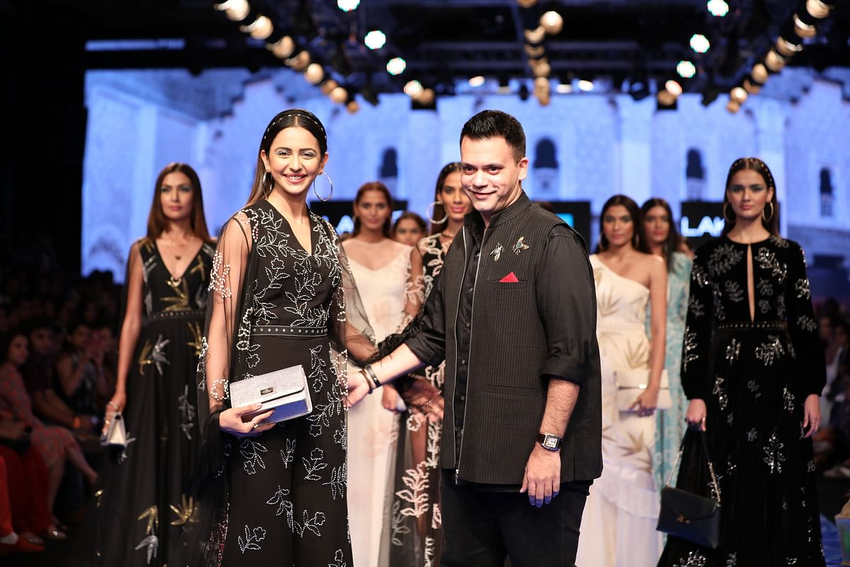 Rakul Preet Singh with Designer Nachiket Barve